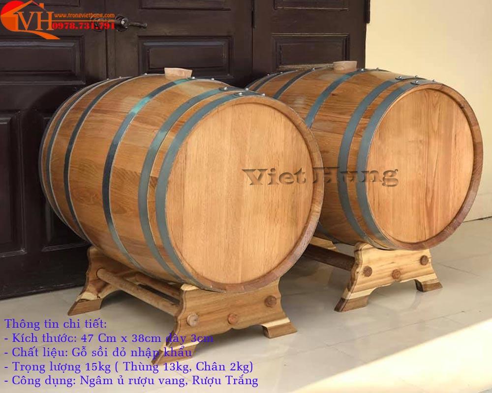 Thùng gỗ sòi 30 lít