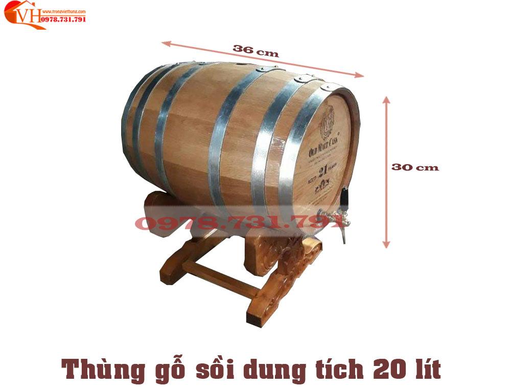 thùng gỗ sồi 20 lít